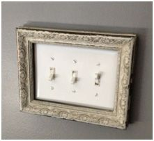 Distressed picture frame and added it my light switch (another idea I picked up from Pinterest.) #milkpaint #missmustardseed #mohawkhome #lightswitch