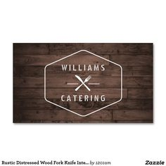 Rustic Distressed Wood Fork and Knife Logo and Business Card for Catering Company, Restaurant, Food Stand, Food Delivery and more. 100% customizable design - easy to personalize and order.