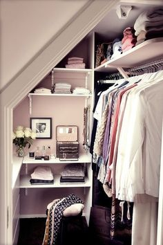 Every last inch of space has been used in this wardrobe in a converted attic/loft space.