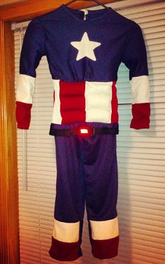 Handmade Captain America costume for an adorable 5 year old!