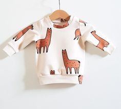 Lamas on beige baby sweatshirt, baby sweater, baby boy clothes, baby girl clothes, toddler clothes, boy sweatshirt, girl sweatshirt, lama
