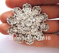 Rhodium Silver Plated Clear Rhinestone Crystal Flower Vintage Bouquet Party Brooch US $12.00
