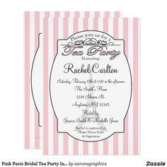 Pink Paris Bridal Tea Party Invitation
