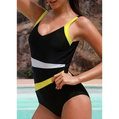 Patchwork Black Open Back One Piece Swimwear ($25) ❤ liked on Polyvore featuring swimwear, one-piece swimsuits, black, 1 piece swimwear, open-back one-piece bathing suits, one piece swimsuit, one piece bathing suits and padded bathing suits