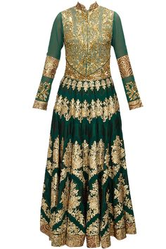Green zari and resham embellished anarkali set available only at Pernia's Pop-Up Shop.