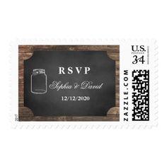 Unique Rustic Mason Jar Chalkboard Wedding RSVP Postage