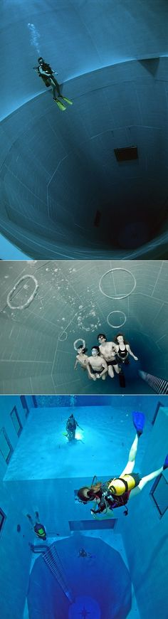 Nemo 33 in Brussels, Belgium Besides having a standard-looking open swimming area, it also has several super deep underwater caves and tunnels that you can dive through. The awesome part is that the whole pool is filled only with spring water and it gets as deep as 113 ft. (34.5 meters).