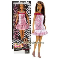 """Mattel Year 2015 Barbie Fashionistas Series 12 Inch Doll - GRACE (DGY56) in """"Pretty in Python"""" Dress with Necklace"""