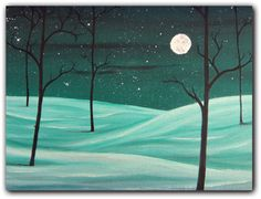 Orignal Winter Landscape Painting Whimsical Art by BingArt on Etsy, $39.95
