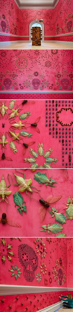 """Jennifer Angus. Wallpaper. Made from bugs. Installation opens November 13, 2015 at the Renwick Gallery in the Smithsonian American Art Museum. """"Part of my work is the rehabilitation of the image of insects — that insects are so vitally important...."""" http://www.thejealouscurator.com/blog/page/2/:"""