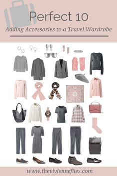 Adding Accessories to a Grey and Pink Perfect 10 Travel Wardrobe - The Vivienne Files Last week I left you with a (what I thought was) lovely wardrobe, but it didn't have any accessories! Well, I was trying to share a new idea about how. Capsule Wardrobe Work, Capsule Outfits, Fashion Capsule, Travel Wardrobe, Fashion Outfits, Pink Wardrobe, Wardrobe Closet, Minimal Wardrobe, The Vivienne