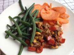 Kip curry met boontjes en zoete aardappel
