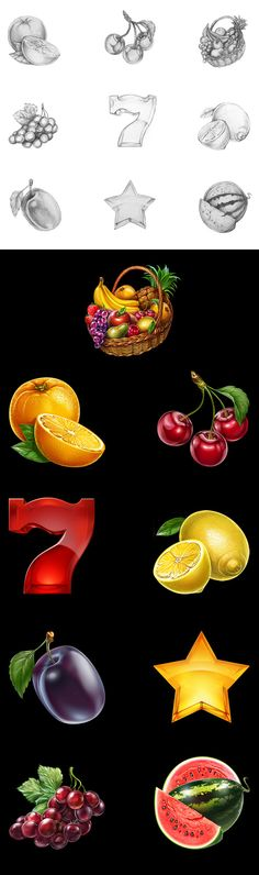 Development of fruit icons for the game slot-machine.Here you can see a process to create of sketches and also final versions all of our delicious icons.Enjoy!http://slotopaint.com/