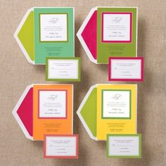 fun way to bring the pink in to invites    Solid Love Wedding Invitation | Contemporary Wedding Invitations
