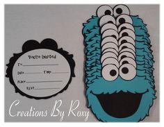 Make your next event really stand out with these cute Handmade Inspired by Cookie Monster invitations.  You will receive a set of 12 . Each
