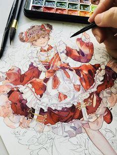 Art Manga, Anime Art Girl, Manga Anime, Manga Watercolor, Watercolor Illustration, Art Drawings Sketches Simple, Kawaii Drawings, Arte Copic, Pretty Drawings