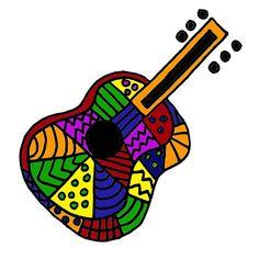 Awesome Colorful Folk Art Guitar Original
