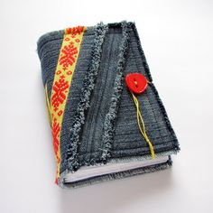 Recycled Denim Jeans Fabric Journal, Diary, assorted paper. $24.00, via Etsy.