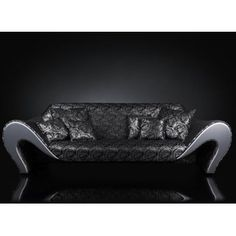 Luxury black and silver contemporary sofa