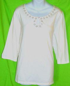 Venezia Women Shirt White Knit Top Size 18 20  Keyhole Front 3/4 Sleeve Beadwork #Venezia #KnitTop #Casual