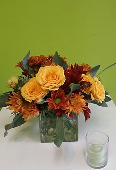 Autumn Cutie : Cuyahoga Falls, OH Florist : Same Day Flower Delivery for any occasion Sunflower Centerpieces, Fall Floral Arrangements, Same Day Flower Delivery, Sweetest Day, Fall Flowers, Cube, Glass Vase, Autumn, Holiday