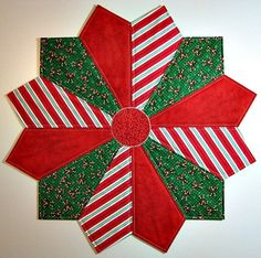 Quilted Table Topper, Christmas Table Mat, Dresden Plate Table Topper, Candy Cane Topper, Red Green White, Quiltsy Handmade by VillageQuilts on Etsy