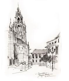 Sevilla - ink drawing by Mugur Kreiss