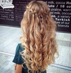 Always amazing from hairstyles_byzolotaya. Waterfall braid with messy curls. source The post Waterfall. hairstyles bridesmaid Waterfall Braid & Messy Curls (Hair and Beauty Tutorials) Down Hairstyles, Easy Hairstyles, Elegant Hairstyles, 1920s Hairstyles, Hairstyle Ideas, Braid And Curls Hairstyles, Makeup Hairstyle, Curly Homecoming Hairstyles, Formal Hairstyles
