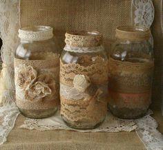 Burlap amd vinatge lace wedding jars by Bannerbanquet on Etsy, $50.50: