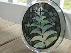 stained glassmosaic round table top designs   Stained Glass Mosaic Suncatcher Trivet Candle Plate Green In the ...