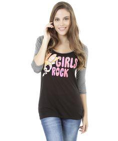 """Blusa Florzinha """"Girls Rock"""" Preta - cea"""
