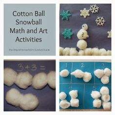 The Stay-at-Home-Mom Survival Guide: Cotton Ball Snowball Math and Art Activities for Kids