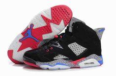 2015 New Air Jordan 6 VI Retro Mens Shoes Leopard Black Grey Red [nike_VEWB0768]…