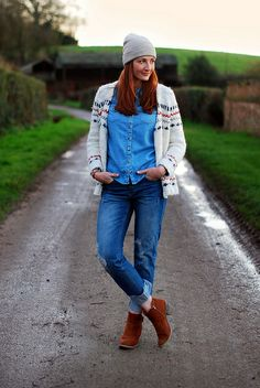 Totally my style Winter double denim & cozy knit by Not Dressed As Lamb, via Flickr