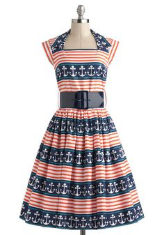 Anchors A-Sway Dress, #ModCloth  Cute Bernie Dexter dress made with Micheal Miller fabric.