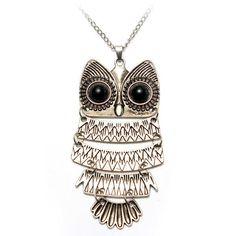 Retro Owl Pendant Sweater Chain Necklace
