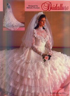 Brides Magazine December 1983/January 1984 1980s Wedding Dress, Modest Wedding Gowns, Dream Wedding Dresses, Wedding Attire, Bridal Dresses, Bridesmaid Dresses, Dress Sites, Beautiful Gowns, Simply Beautiful