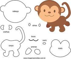 Molde de Macaco für EVA Feltro e Artesanato Felt Animal Patterns, Felt Crafts Patterns, Paper Piecing Patterns, Stuffed Animal Patterns, Animal Crafts For Kids, Diy Crafts For Kids, Sewing Appliques, Felt Toys, Felt Animals