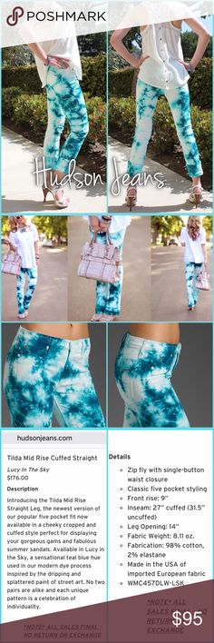 """Hudson Jeans Hudson Tilda mid rise cuff straight - color: Lucy in the sky - like new, size 24 with a 30"""" inseam.       Photos from: https://denimology.com/2012/06/elena_style_-_hudson_hudson_tie-dye_jeans Hudson Jeans Jeans Ankle & Cropped"""