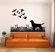 Labrador Dog and Ducks Vinyl Wall Decal Sticker Made from 10 year high quality vinyl which leaves no residue upon removal. Some decals may come in multiple pieces due to the size of the design. Measur