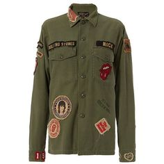 Madeworn Rolling Stones Patch Army Jacket ($450) ❤ liked on Polyvore featuring outerwear, jackets, army jacket, military jacket, green jacket, army green jacket and patch jacket