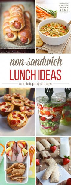 Here's an AWESOME list of non-sandwich lunch ideas with over a month of delicious meal ideas! I get so tired of sandwiches all the time! kids lunch 35 Non-Sandwich Lunch Ideas Non Sandwich Lunches, Lunch Snacks, Healthy Snacks, Healthy Recipes, Work Lunches, Lunch Sandwiches, Salad Sandwich, Food For Lunch, Rice Recipes
