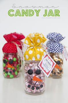 snowman candy jar gift idea