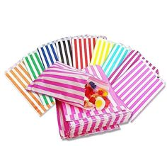 50 Striped Candy Paper Bags For Sweet Favour Buffet Wedding Cake Gift