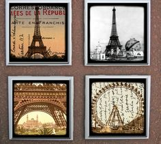 Drink Tile Glass Coasters Scenes from Paris Eiffel Tower Ceramic Coasters, Glass Coasters, Dresser, Coaster Crafts, Paris Eiffel Tower, Gallery Wall, Craft Ideas, Ceramics, Dishes