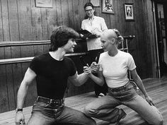 Patrick Swayze and his wife Lisa Niemi. While Patrick's mom Patsy looks on.