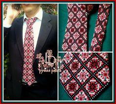 отменный мужской галстук с ручной вышивкой