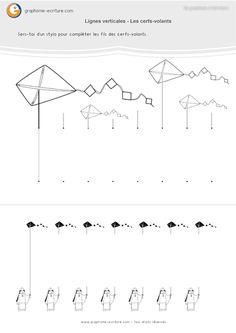 3-graphisme-gs-grande-section-les-lignes-verticales-cerf-volant-01 Trait Vertical, Maternelle Grande Section, Ms Gs, Line Chart, Education Positive, School, Islam, Loft, Autism
