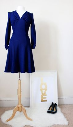 1970's Vintage Secretary Dress  Royal Blue by CutandChicVintage, $135.00