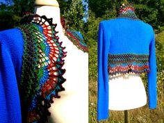#Peacock #Bolero - #Upcycled #Crochet #Sweater - #Bohemian #Cardigan - #Eco #Friendly #Clothing